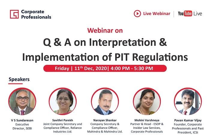 Webinar on Q & A on Interpretation & Implementation of PIT Regulations